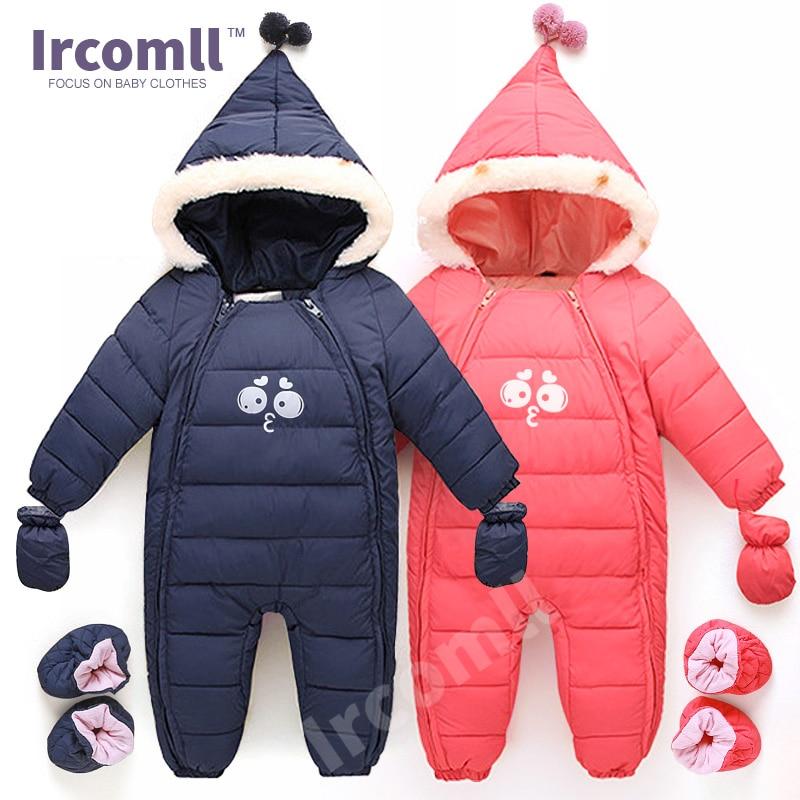 למטה כותנה בייבי Rompers חורף עבה בנים תלבושות בנות חורף תינוק snowsuit ילדים בייסבול ילדים Outerwear התינוק ללבוש 0-18m