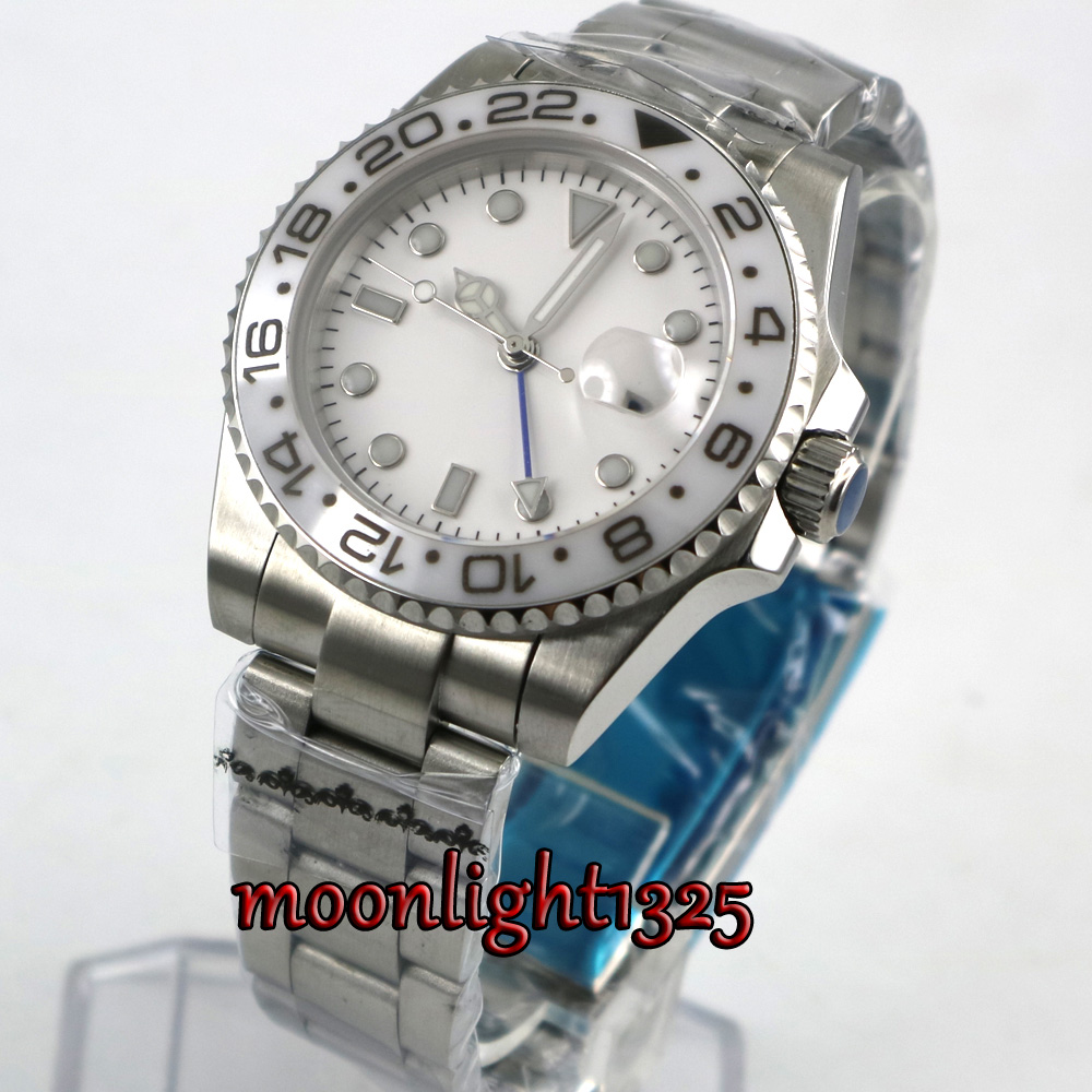 top 40mm parnis white sterile dial sapphire glass GMT white ceramic Bezel date window automatic mens watch цена и фото