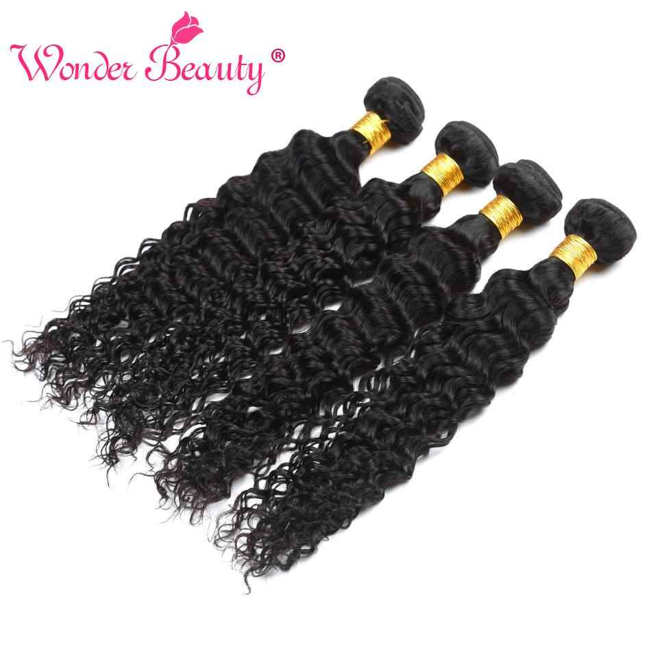 Wonder Beauty Human Hair Extensions Braziliaanse Diepe Krullend 4 Bundels Deal Gemengde Lengte Haar Weave Zwart Machine Dubbele Inslag