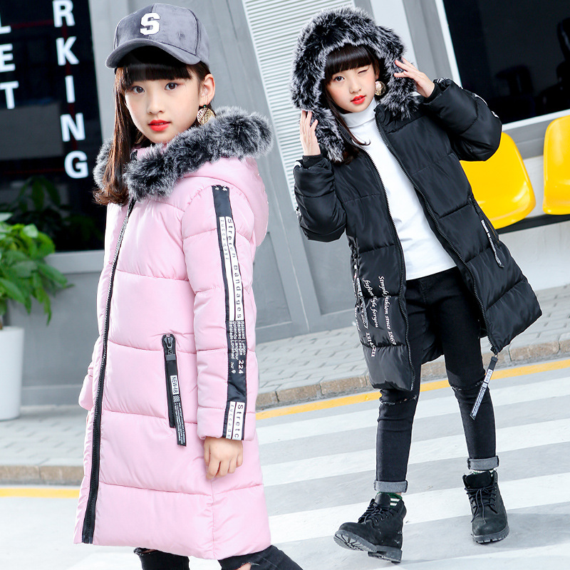 2018 New Girls Winter Jackets Thick Coat Cotton Padded Fur Hooded Kids Jacket for Girls Clothes Children Clothing Parkas 2018 new winter big girls warm thick jacket outwear clothes cotton padded kids teenage coat children faux fur hooded parkas p28