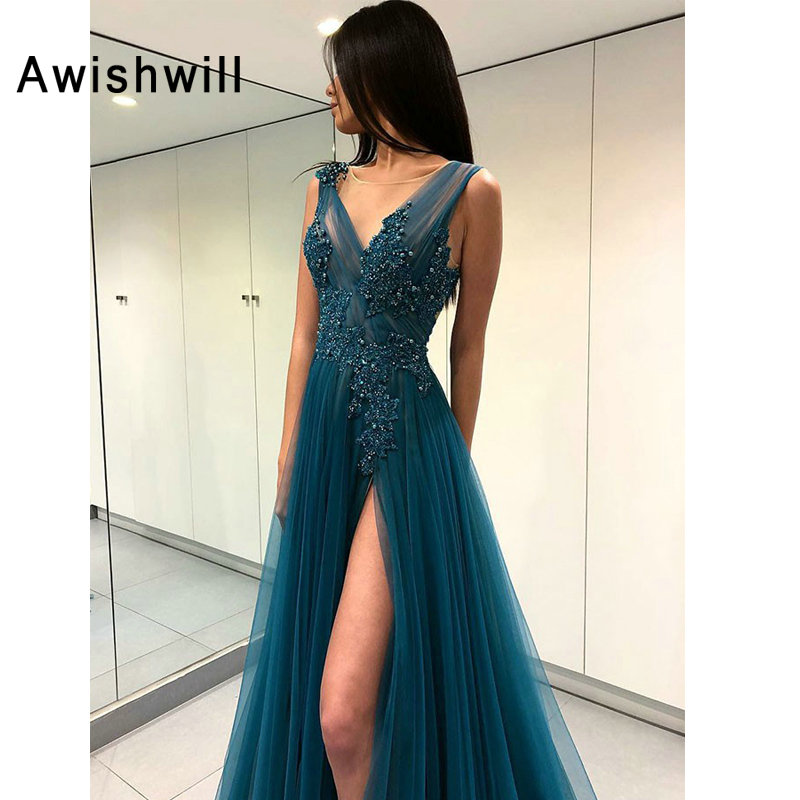 Long Evening Dresses 2019 V neck Sexy High Slit Appliqued Beaded Tulle Long Prom Evening Party