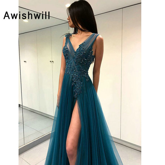 Long Evening Dresses 2019 V-neck Sexy High Slit Appliqued Beaded Tulle Long Prom Evening Party Gowns For Women Backless