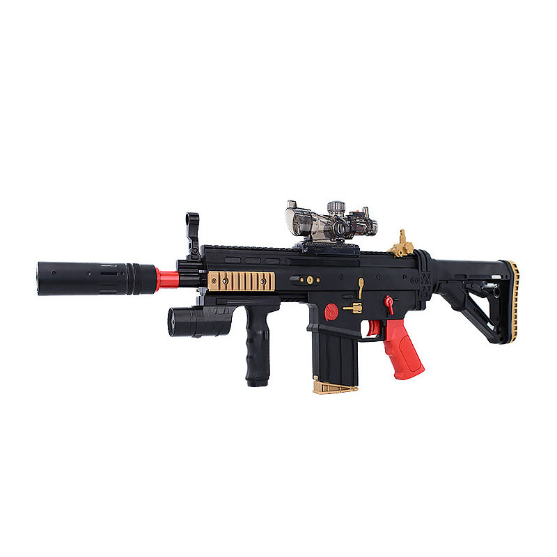 Electric Toys Guns Water Bullet Gun Continuous Firing Rifle With 5 Soft Bullets For Nerf Crystal Bullet Boy Adult Toy Gift cross fire toy gun barrett sniper rifle capable of firing bullets soft bullet gun and there are children s toys flash sound gun