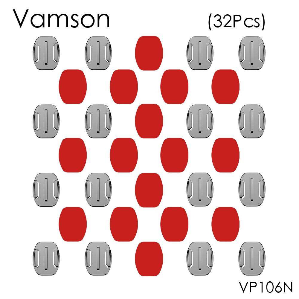 Vamson 16pcs/set Flat Surface Mount Base+16pcs 3M Sticker Adhesive For Gopro Hero 5 4 3+ for Xiaomi for Yi for SJ400 VP106N pannovo curved pc mount w 3m adhesive sticker set for gopro hero 4 2 3 3 sj4000 2 pcs