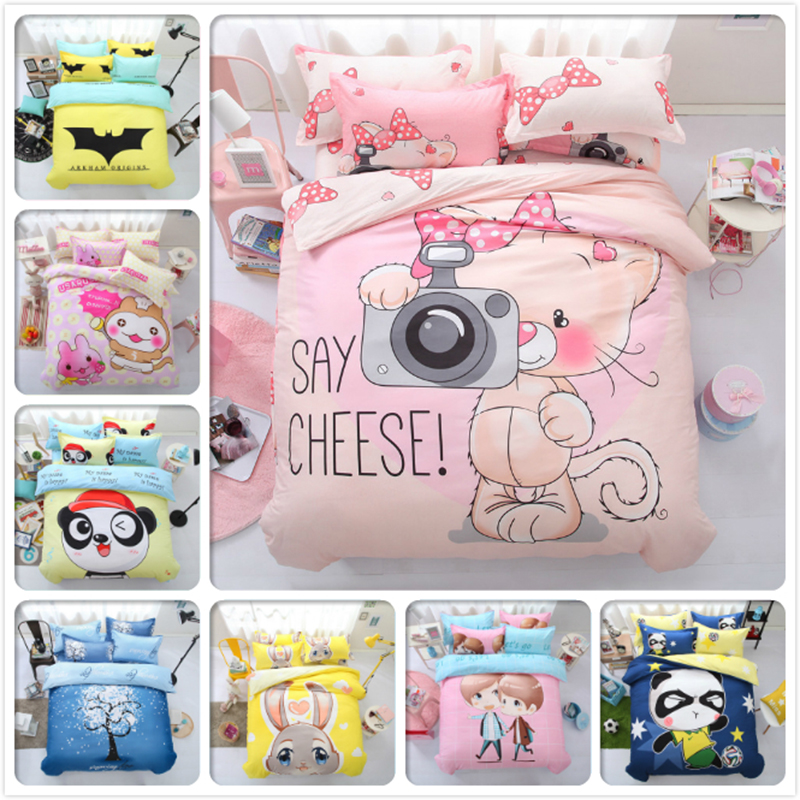 Cute Kitty Animal Bedlinens Boy Girl Kids 3pcs 4pcs Bedding Set 1.2m 1.5m 1.8m 2.0m Bed Sheet Queen Twin Double Size Duvet Cover