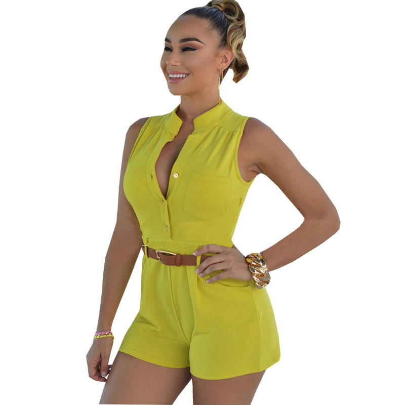 778ac40b892c Shorts Rompers Womens Jumpsuits Summer Ladies Sexy Deep V Neck Short Sleeve  Bodysuit Casual Overalls Women Jumpsuit With Belt-in Rompers from Women s  ...