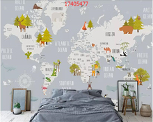 beibehang Custom size Modern fresh cartoon geometric animal world map children room background wall painting wallpaper behang