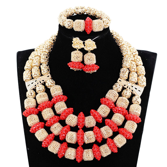 Luxury Red/Champagne Gold African Beaded Jewelry Set Nigerian Wedding Crystal Beads Necklace Set Free Shipping JB072 цена и фото