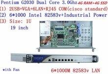 cheap server rack 1U routers with 6*1000M 82583V Gigabit Inte Pentium G2030 3.0Ghz 4G RAM 4G SSD