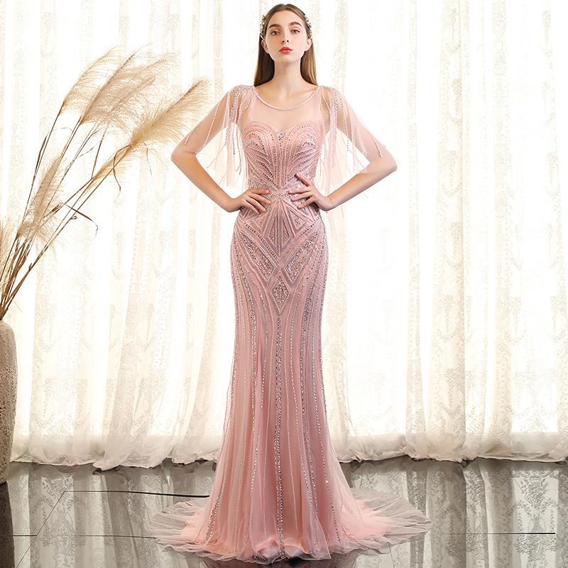 Luxury Pink Sheer Neck Crystal Beading Vestidos De Festa Backless Mermaid Formal Long Evening Dresses Prom Party Gowns