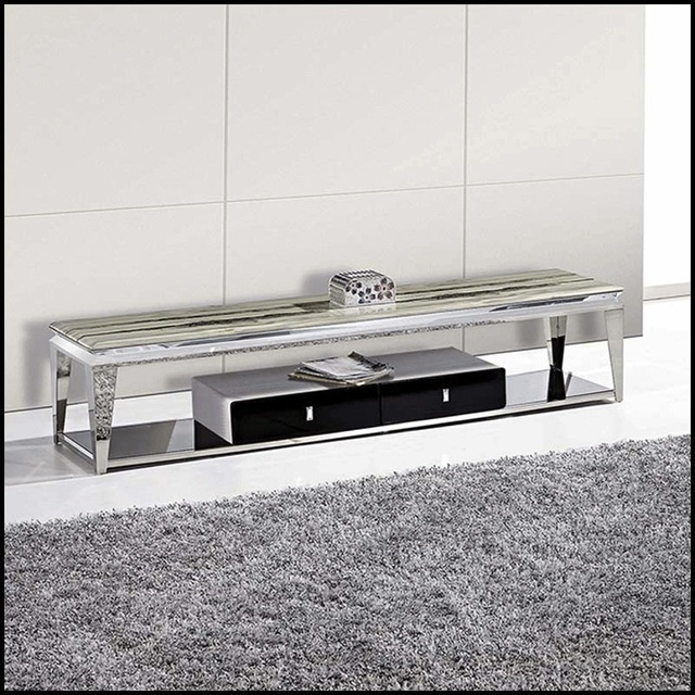 Modern TV Stand,fashion And Durable Stainless Steel TV Cabinet Top With  Marble,Good
