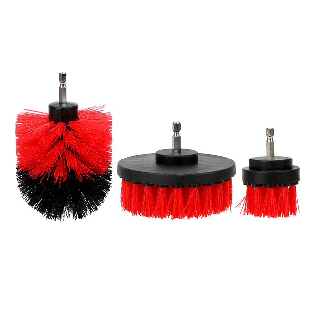 3pcs/set Car Cleaning Tool Auto Detailing Cleaning Hard Bristle Car Auto Care Car Brush Drill Scrubber Brush Kit 5