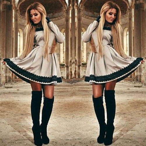 Elegent Vintage Dresses Women Long Sleeve Lace Patchwork Party Cocktail Skater Mini Dress Vestidos De Festa
