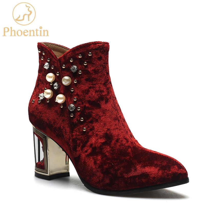 Phoentin string bead sexy women boots crystal flower high heels birdcage  fretwork heel rivet zipper ankle 1d2e03e0c0cc