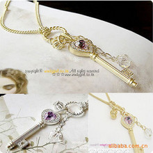 New famous style fashion crown key pendant necklace gold silver long paragraph