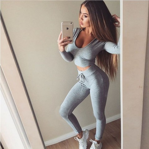 Sports Clothing Sexy Solid Running Sports Suit Fitness Gym Tracksuit Women Yoga Set Padded Leggings Sets Sportswear Pakistan