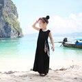 3-14yrs meninas de verão moda vestido na altura do joelho-comprimento praia vestido longo sem mangas 100% algodão princesa bohemian crianças vestido para as meninas