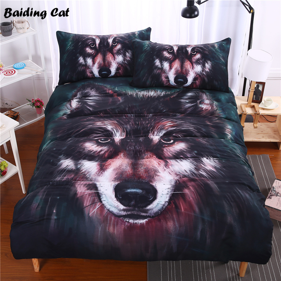 Home Textile 3d Oil Painting Wolf Head Bedding Set 3pcs Bed Linen Include Duvet Cover +2pcs Pillowcase Twin Full Queen King SizeHome Textile 3d Oil Painting Wolf Head Bedding Set 3pcs Bed Linen Include Duvet Cover +2pcs Pillowcase Twin Full Queen King Size