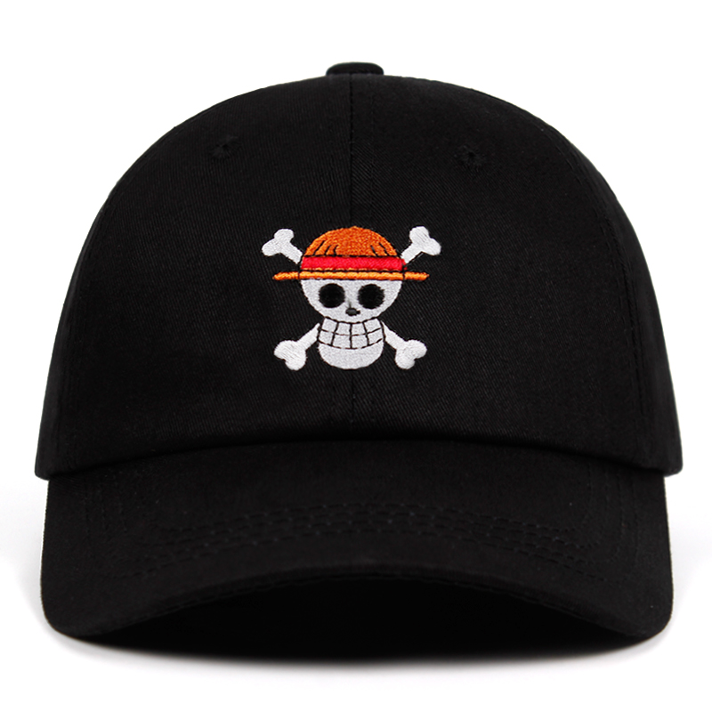 One Piece Dad Hat 100% Cotton Anime Baseball Caps High Quality Embroidery Snapback Hats Pirate Unisex Dropshipping