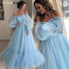 SuperKimJo Blue Prom Dresses 2019 Off the Shoulder Elegant A Line Tulle Cheap Gown Vestido Longo Vestidos De Gala