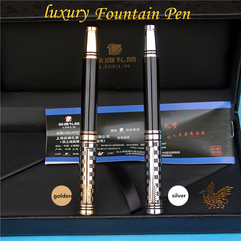 2017 Luxury LS909 fountain pen Golden and silver 2 style free engraving and get 6 blue ink sacs free parker 88 maroon lacquer gt fine point fountain pen
