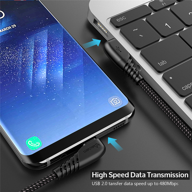 TIEGEM 90 degree USB Type C Cable 3A USB-C Cable Type-C Fast Charging Cord for Nintendo Switch Samsung S8 Oneplus 5 Pixel 2 3