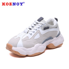 Koznoy Sneakers Women Spring Autumn Dropshipping Lace Suede Casual Ins Breathable Mesh Muffin Bottom Fashion Sewing Shoes