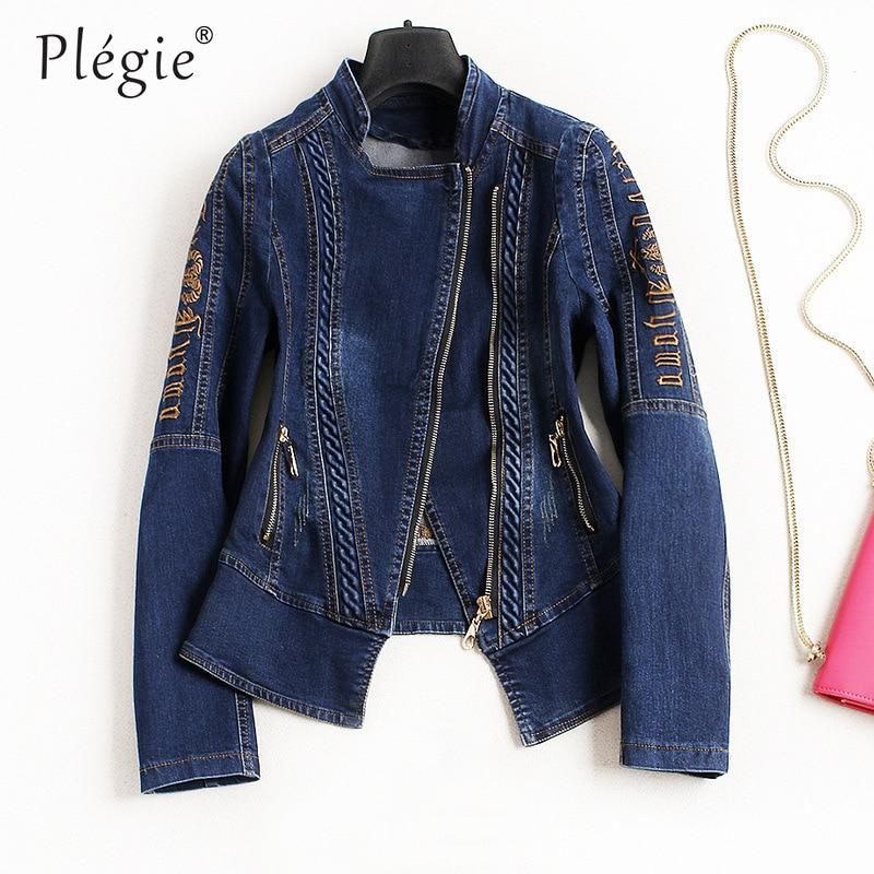 Plegie Embroidery Denim Jacket Women Chic Diagonal Zipper 2018 Autumn Fashion Streetwear Vintage Denim Coat 4XL Jeans Jackets