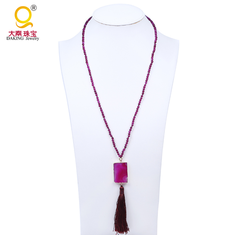4mm purple stone beads necklace geometric stone pendant long necklace brown lovely tassel necklace lady for dress
