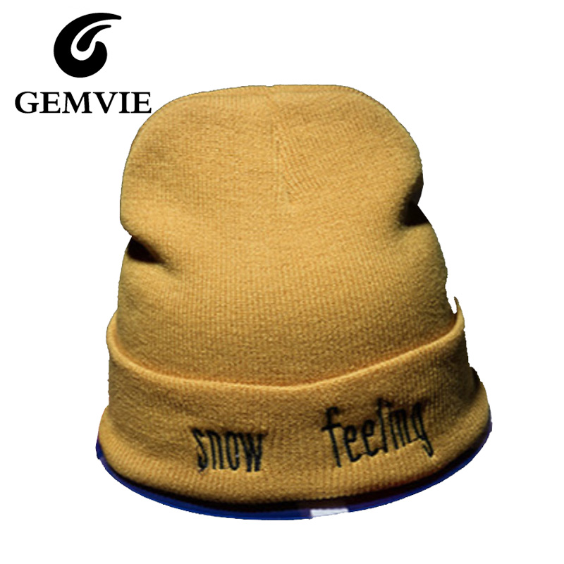 Classical Letters Snow Feeling Knitting Wool Caps For Women And Men 2016 Autumn Winter Black White Yellow Warmer Knitted Hats love letters of great men and women