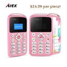 10 pcs/lot AIEK/AEKU M9 Ultra Mince Mini Carte Téléphone À Faible Rayonnement Petite Poche Remplacer Téléphone Pour Enfants Pregnants clés russes