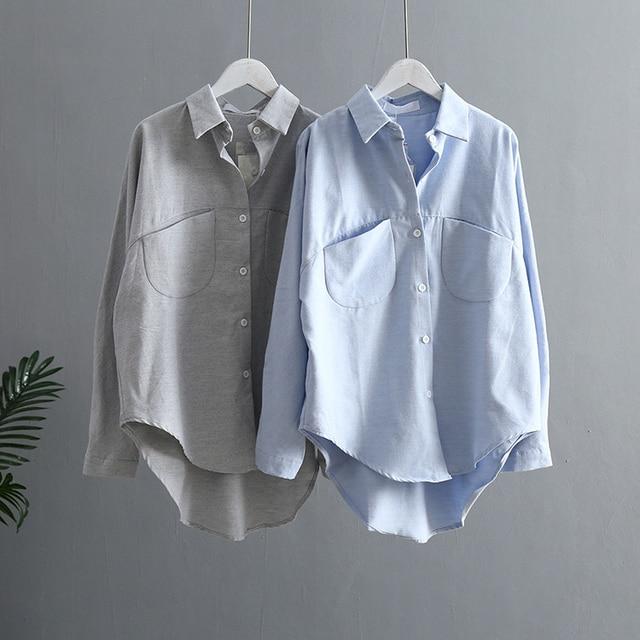 Blouse Korean Long Sleeve Tops And Blouses Vintage Women Shirts 2