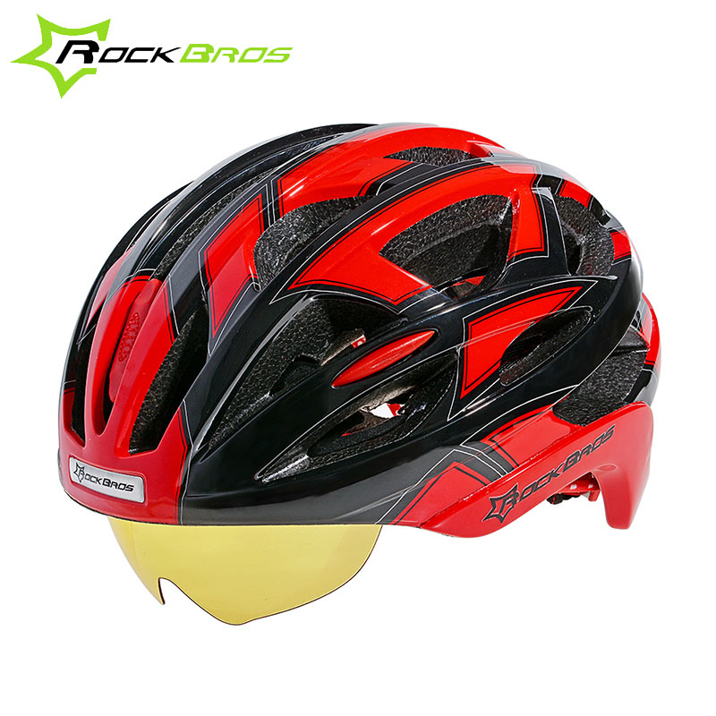 ROCKBROS Bicycle Helmet With Glasses Unisex Magnets Goggles Design Mountain Road Bike With 3 Lenses 4 Colors TK051 topeak outdoor sports cycling photochromic sun glasses bicycle sunglasses mtb nxt lenses glasses eyewear goggles 3 colors