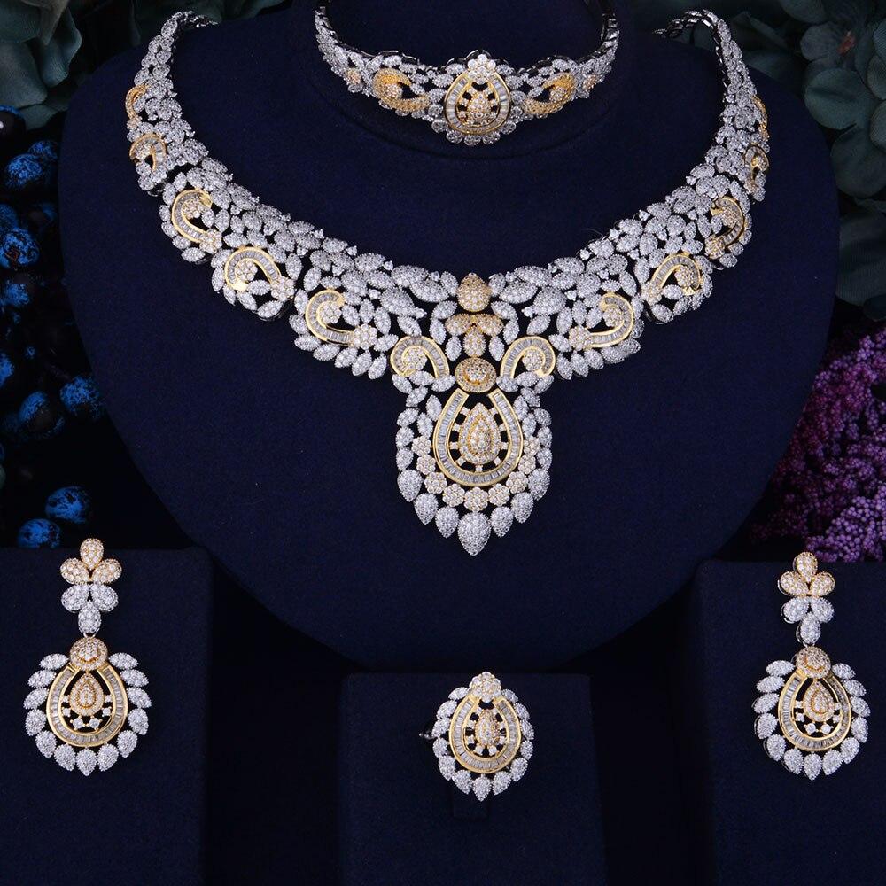 GODKI Flower Leaf Luxury Women Nigerian Wedding Naija Bride Cubic Zirconia Necklace Dubai 4PCS Dress Jewelry