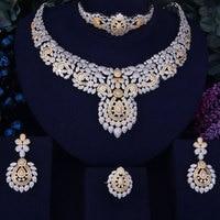GODKI Flower Leaf Luxury Women Nigerian Wedding Naija Bride Cubic Zirconia Necklace Dubai 4PCS Dress Jewelry Set