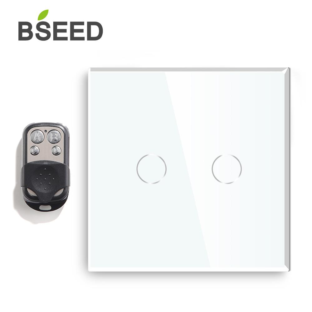 Bseed Eu Touch Switch 2 Gang 1 Way Remote Light Switch