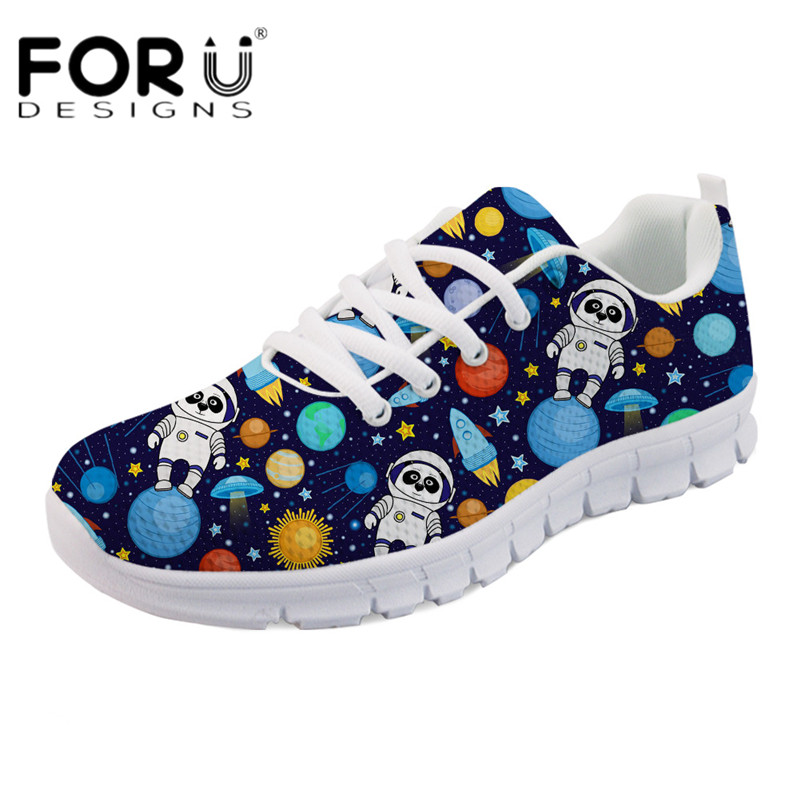 FORUDESIGNS Cartoon Space printing Women Casual Flats Fashion Ladies Comfortable Mesh Sneakers Light Lace Up Flat Shoes for Girl forudesigns cute animal dog cat printing air mesh flat shoes for women ladies summer casual light denim shoes female girls flats