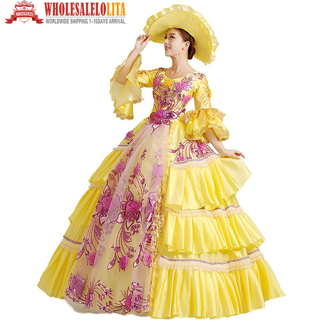 da9d2d7391013 US $128.0 |HOT !!! Global Freeshipping 18th Century Renaissance Medieval  Marie Antoinette Rococo Belle Gown Costume For Party-in Holidays Costumes  ...