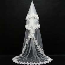 Cathedra Long Bridal Veils 2019 New Bride Wedding Veil Lace Appliques 3 Meters One Layer Accessories