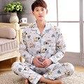 Homem cascul masculino conjunto de pijama de algodão manga comprida turn down gola de Algodão XXXL solto duas peças terno homewear sleepwear Salão XXXL