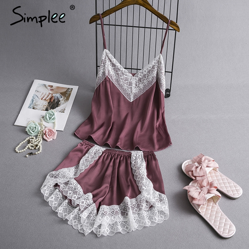 Simplee Lace satin   pajamas     set   nightwear shorts Sexy v neck strap   pajamas   sleepwear Women elastic waist night suit pyjama 2019