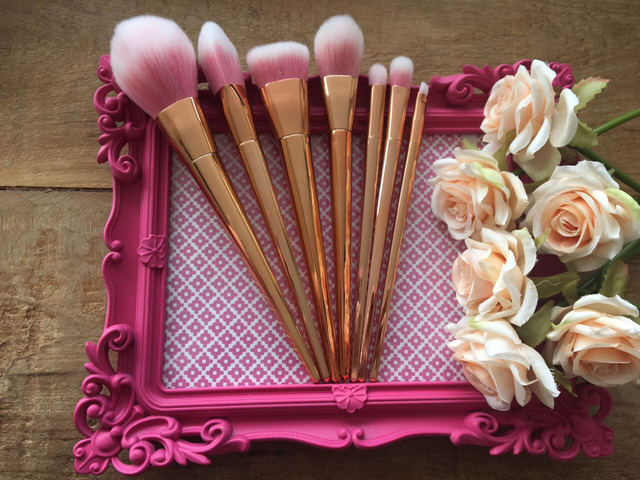 US $8 45 |Very Good Makeup Brushes 7pcs Special Professional Real Brushes  Aluminum Alloy Brushes Rose gold Makeup Brushes Cosmetic Brush -in Makeup