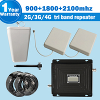 Tri Band Repeater 2g3g4g Cellular Signal Booster with 2 Antennas 900 1800 2100 MHz Mobile Phone Signal Booster Amplifier Kit s44