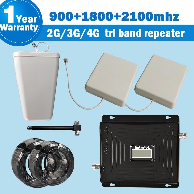 Tri Band Ripetitore 2g3g4g Cellulare Del Segnale Del Ripetitore con 2 Antenne 900 1800 2100 mhz Segnale Del Telefono Mobile Booster Kit Amplificatore s39