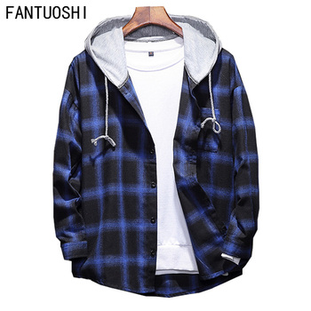men shirt cotton 2020 autumn new High Quality Long sleeve Casual hooded fashion Loose shirt male Plaid shirt Large size 5XL plus size 5xl environmental commemorative shirt for men good quality long sleeve casual dress shirt male