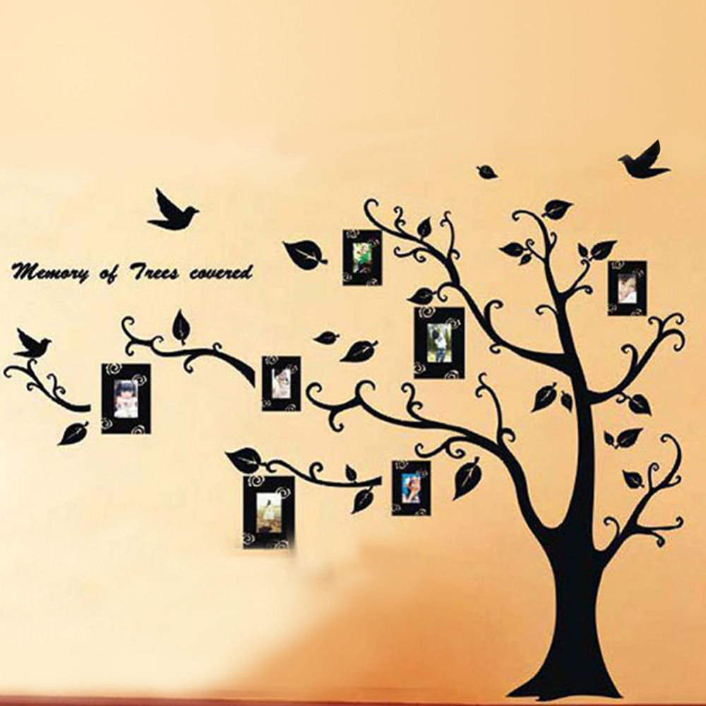 DIY Black Family Photoes Frame Tree Wall Stickers Living Room ...