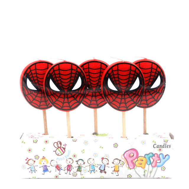 5PCS/LOT Spider man Candle Spiderman Party Supplies Kids Birthday Candles Evening Party Decorations Set Party Cake Candle Supply