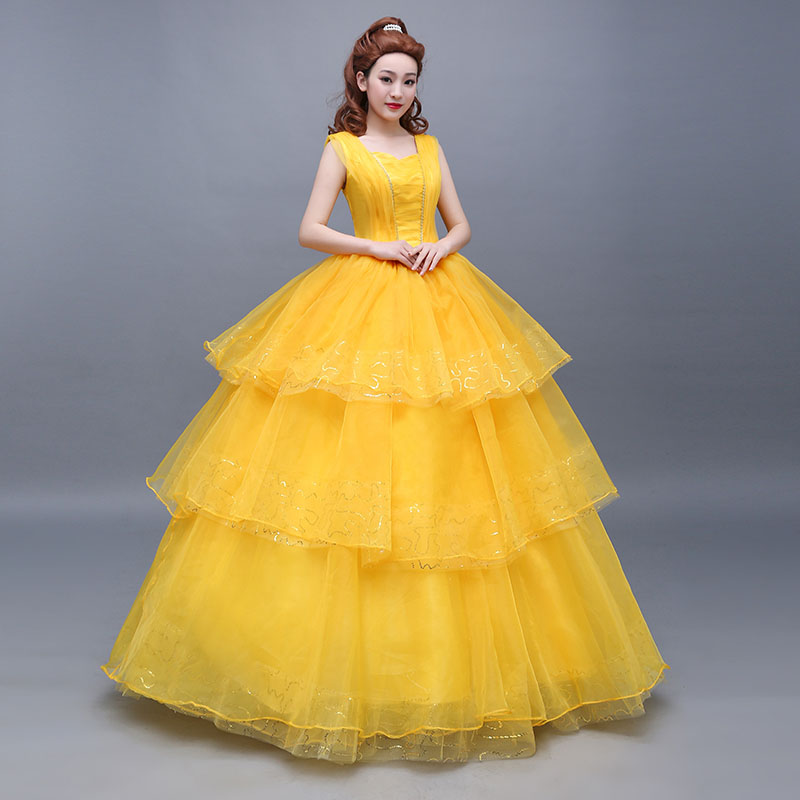 2017 Movie Beauty And The Beast Costumes Belle Dress Adults Emma Watson Adult Girl Kids Children Cosplay Costume In TV From