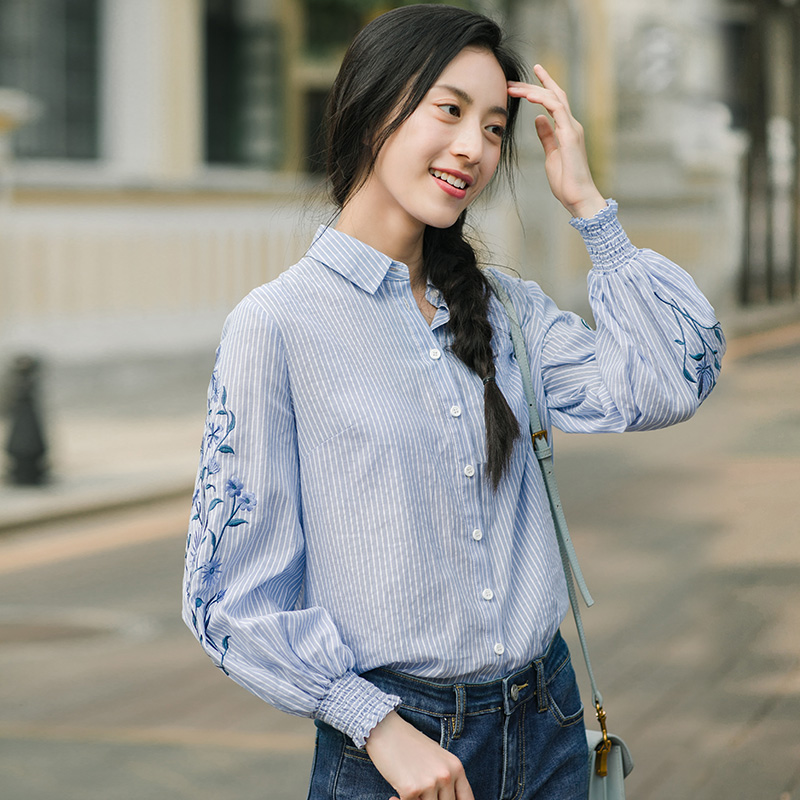 INMAN Spring Autumn Blouse Turn Down Collar Embroidery Stripped Loose Style All Matched Women Tops BlouseBlouses & Shirts   -