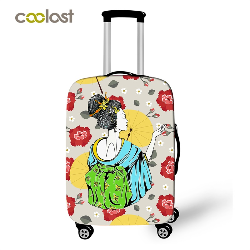 Japanese Geisha Luggage Cover for 18-30 Baggage Elastic Valise Case Cover Kimono Suitcase Protective Cover Travel Accessories спот horoz hl7163l